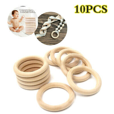 £4.55 • Buy 10Pcs Natural Wooden Baby Teething Rings Teethers For Necklace Bracelets Crafts