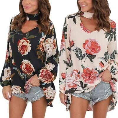 AU18.42 • Buy Women V-neck Long Sleeve T Shirt Loose Casual Floral Tunic Tops Blouse Plus Size