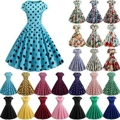 AU20.51 • Buy Womens Summer Party Midi Dress Retro Pinup Ladies Swing Skater Prom Dresses