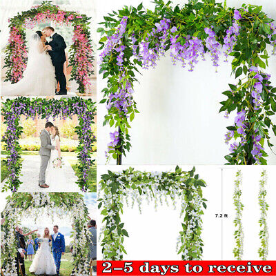 £6.89 • Buy 2x 7FT Artificial Wisteria Vine Garland Plants Foliage Trailing Flower Outdoor