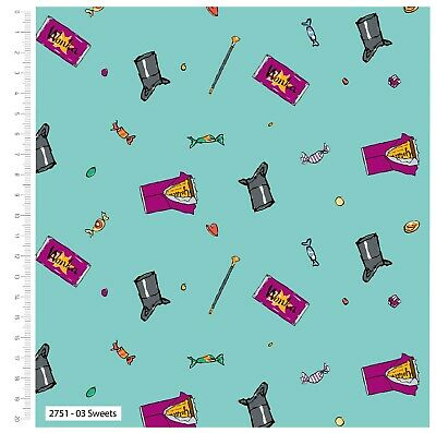 £0.99 • Buy Fabric Charlie & Chocolate Factory Roald Dahl 100% Cotton 112cm Wide Sweets Blue