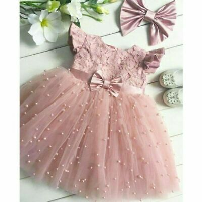 £17.52 • Buy Princess Girl Dress Pink Lace Tulle Toddler Kid Occasion Clothing Short Sleeves