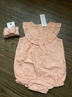 £26.18 • Buy NWT Janie And Jack Girl 2-piece Peach Lace Romper Dress EASTER SPRING 12 18 24