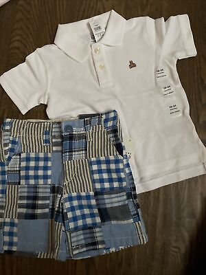 £18.18 • Buy NWT Baby Gap Boy Blue Plaid Shorts Polo 2-piece SPRING EASTER 18 24 2T 3T 4T
