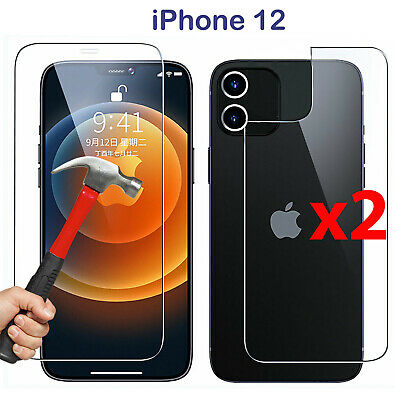 AU10.99 • Buy X2 Tempered Glass Screen Protector Guard For Apple IPhone 12 Front And Film Back