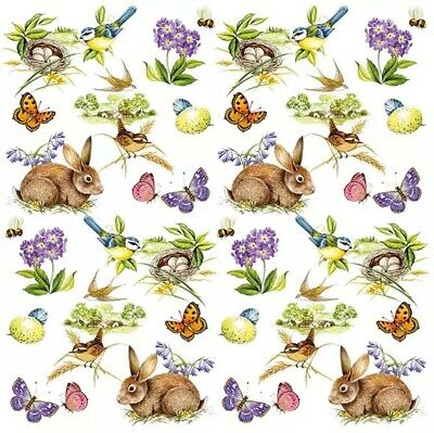 £1.39 • Buy 4 Lunch Paper Napkins For Decoupage, Party, Table, Craft Rabbits, Easter Feeling