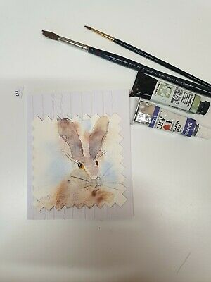£3.50 • Buy Hand Painted Watercolour Hare Card (3)