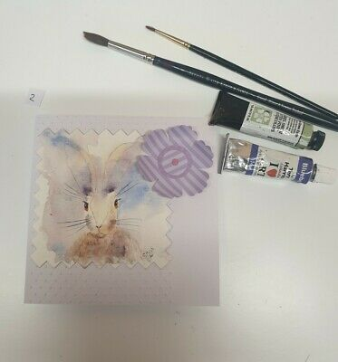£3.50 • Buy Hand Painted Watercolour Hare Card (2)