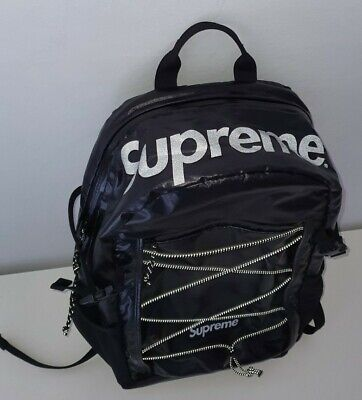 $ CDN396.43 • Buy FW17 Supreme Black Backpack Cordura Fabric Box Logo Reflective Text