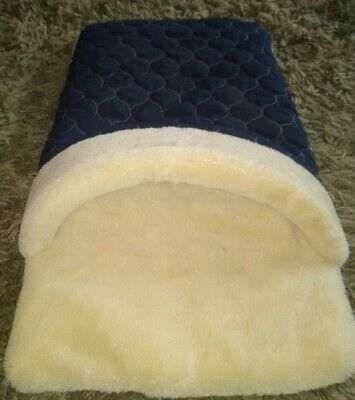 £25.42 • Buy Soft Cozy Pet Dog Cat House Quilted Sleeping Bag Bed Sofa Tunnel Bed Blue ~ EUC