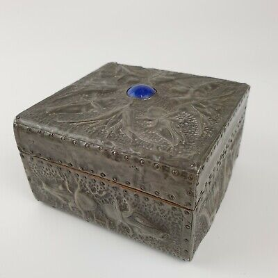 £179 • Buy Antique Arts And Crafts Pewter Box With Blue Ruskin Initialled W H