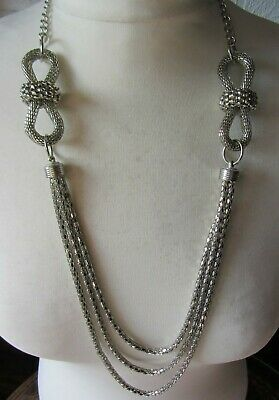 £7 • Buy Ladies Silver Tone Statement Necklace-Large Knots-Multi-Strand-Costume Jewellery