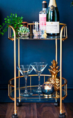 £42.50 • Buy Home Collections 2 Tier Round Drinks Trolley Gold With Wheels Art Deco