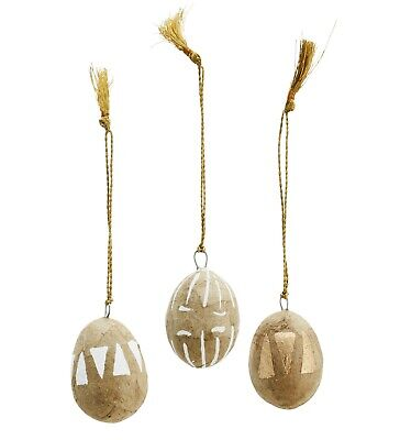 £3 • Buy Mini Hanging Painted Easter Egg Tree Decoration Paper Mache Gold White Triangle