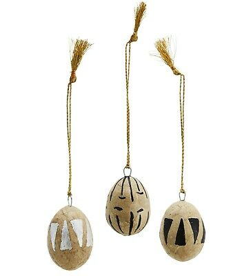 £3 • Buy 1 Mini Hanging Painted Easter Egg Tree Decor, Paper Mache Black Silver Triangle