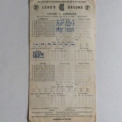 Oxford V Cambridge Score Card Lord's Ground July 1958 • 4.50£