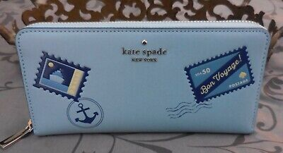 $ CDN109.25 • Buy Kate Spade ~Off The Grid Bon Voyage Leather Continental Zip Wallet~BLUE~NWT $239