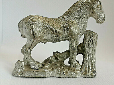 Small Shire Horse Figurine. Silver Plated.Heavy • 17.99£