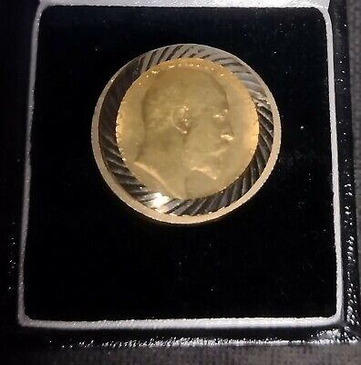 £480 • Buy 22ct Gold Half Sovereign Coin Ring - Hallmarked 9ct Solid Gold Ring - Size S