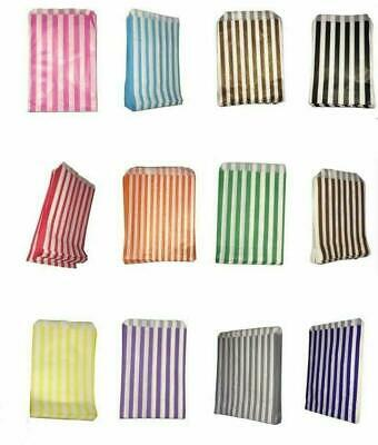 £3.25 • Buy 100 - STRIPED CANDY PAPER BAGS FOR SWEET FAVOUR BUFFET WEDDING CAKE GIFT 5  X 7