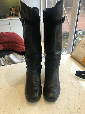 £14.99 • Buy KNEE HIGH GENUINE LEATHER SIZE 7.5 BLACK WOMENS LADIES BOOTS ROCKPORTPull On