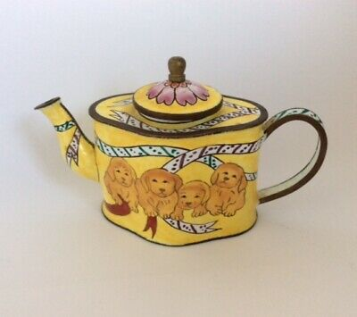 £20 • Buy Enamelled Small Teapot - Yellow Colour With Puppies Images