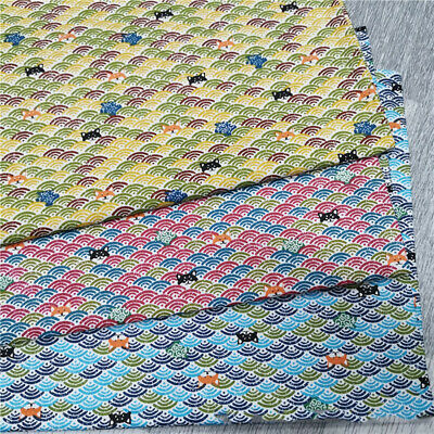 £4.82 • Buy Japanese Style Printed Wave Cotton Twill Fabric For Clothing Bag Sewing Material