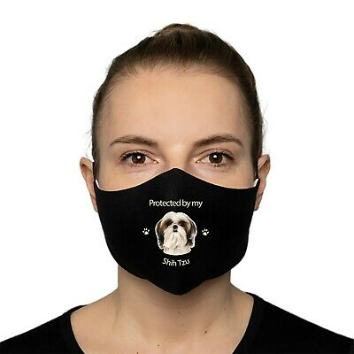 £5.95 • Buy Shih Tzu Gift - Protected By My Shih Tzu Face Mask With Filter Pocket