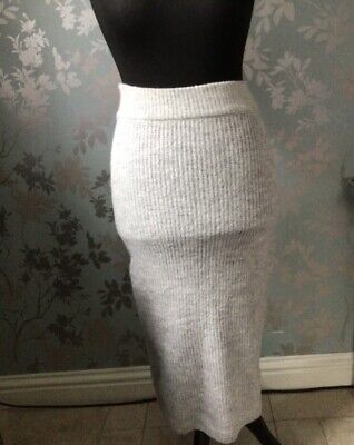 £4.99 • Buy Primark Womens Light Grey Chunky Knit Midi Maxi Skirt Size XS New With Tags