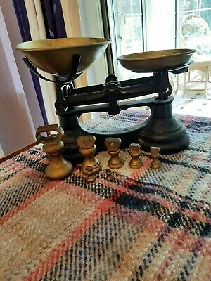 £45 • Buy Vintage Cast Iron Kitchen Scales With Brass Bell Weights