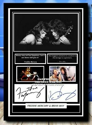 £6.90 • Buy 74) Freddie Mercury & Brian May Queen Signed Photograph Mounted Framed Unframed