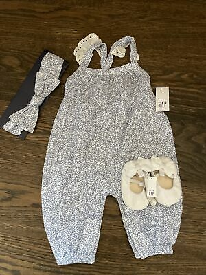 £24 • Buy NWT Baby Gap Girl FALL SUMMER Blue Floral Romper Bow 3-piece SET 0 3 6 9 12 18