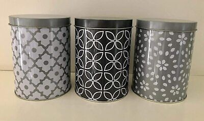 Set Of 3 Grey Pattern Canister Jar Tea Coffee Sugar Pot Storage Container • 6.99£