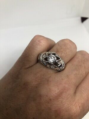 AU142.52 • Buy Vintage White Sapphire Ring 925 Sterling Silver Size 9