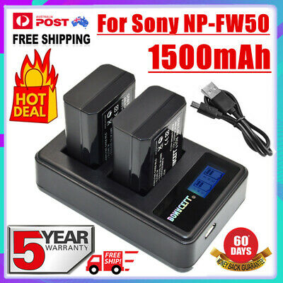 AU28.99 • Buy 2X 1500mAh NP-FW50 Battery + LCD Dual Charger For Sony A7 A7R A5000 A6000 NEX-3