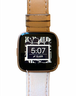 $ CDN98.01 • Buy Fitbit Versa Rose Gold Aluminum Puck & Tan Leather Band