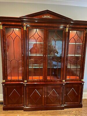 $2499 • Buy Kindel Neoclassical Empire Mahogany Breakfront China Cabinet With Ormulu