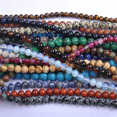 $ CDN1.99 • Buy Natural Gemstone Round Spacer Loose Beads 4mm 6mm 8mm 10mm 12mm Assorted Stones
