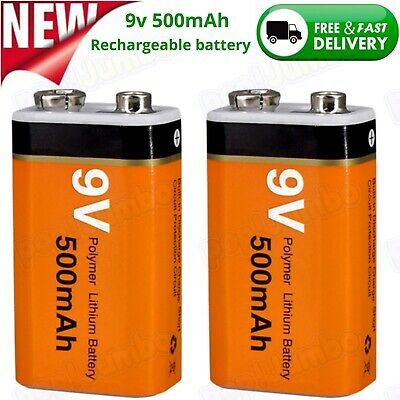 AU24.95 • Buy  9V Rechargeable Batteries 500mAh Polymer Lithium Battery 2 Pack