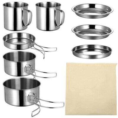 £26.91 • Buy 8Pc Camping Cookware Kit Outdoor Kitchen Cooking Equipment Picnic Pot Pan Hiking