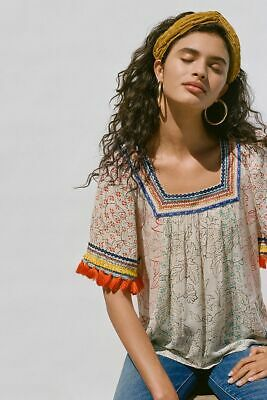$ CDN106.23 • Buy Anthropologie Paolina Tassel Blouse NEW MAEVE Size M But Fits L
