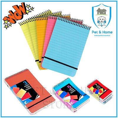 Note Pad A5 A6 A7 Spiral Multi-coloured Neon Ruled Notebook - Chiltern Wove • 2.99£