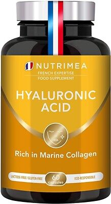 Pure Hyaluronic Acid & Marine Collagen - Natural Anti-Wrinkle 60 Capsules • 17.49£