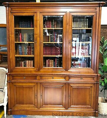 AU2675 • Buy Vintage French Bibliotheque Library Bookcase Fruitwood - SF100