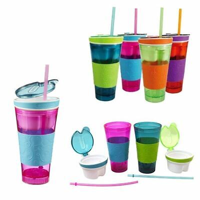 Snack & Drink Cup With Lid And Straw -Outdoor, Picnic, Travel. • 9.29£