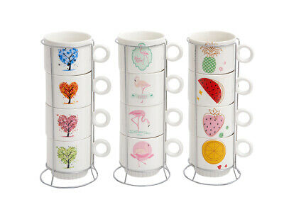 £10.99 • Buy Set Of 4 Mugs Ceramic Stackable Mugs And Stand Drinking Cup Tea Coffee Stack Mug