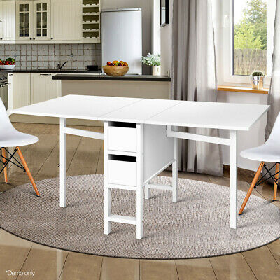 AU219.20 • Buy Artiss Gateleg Dining Table Adjustable Extendable Folding Dining Table White