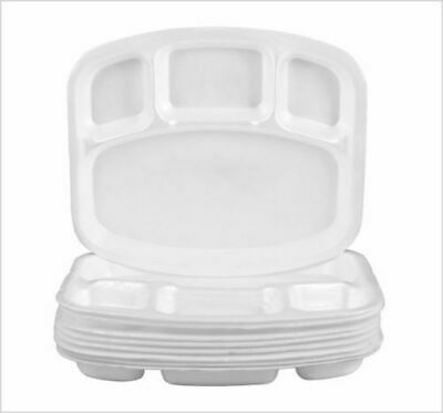 £5.99 • Buy Compartment Plates White Foam Polystyrene Disposable 26cm Party Plate 4 Sections