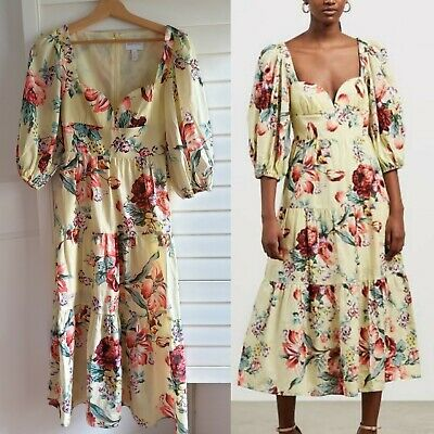 AU127.50 • Buy Alice McCall Sweetheart Neckline Yellow Floral Tiered Maxi Dress Size 6 New