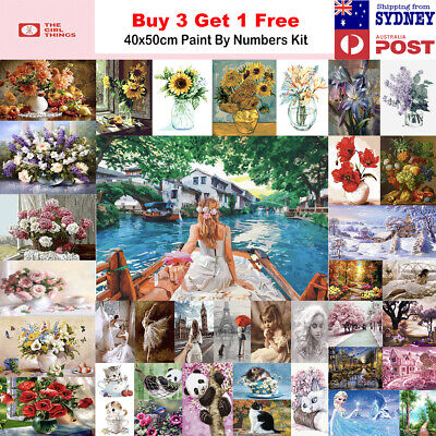 AU13.95 • Buy 2021New Paint By Numbers Kit From Australia DIY Flower Pink Kitten Home Decor
